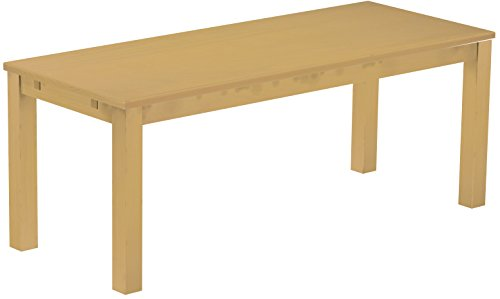 Brasilmöbel Esstisch Rio Classico 200x80 cm Sand Massivholz Pinie Holz Esszimmertisch Echtholz Größe und Farbe wählbar ausziehbar vorgerichtet...