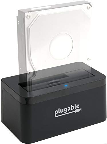 Plugable USB 3.1 Gen 2 10Gbps SATA Upright Hard Drive Dock and SSD Dock (Includes Both USB-C and USB 3.0 Cables, Supports 10TB+ Drives).