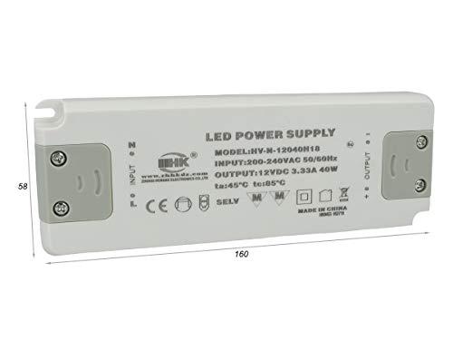 LEDLUX CV8040 Alimentatore Trasformatore CV 40W 12V 3,33A Super Slim Solo 19mm Spessore