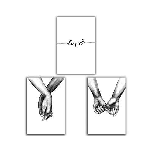 moderne Skizze Poster Liebhaber Hand in Hand Drucke auf Leinwand Malerei für Wohnzimmer Dekoration Liebhaber Wandkunst Bilder abstrakte Kunst / 40X50cmx3 / Ungerahmt