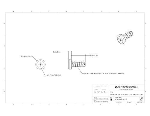 M1.6 X 4mm Plastic Thread Forming Screw Black Zinc Plated Steel Undersized Pan Head Phillips Drive (100 Pcs) - M16-40-P-BZ-UP