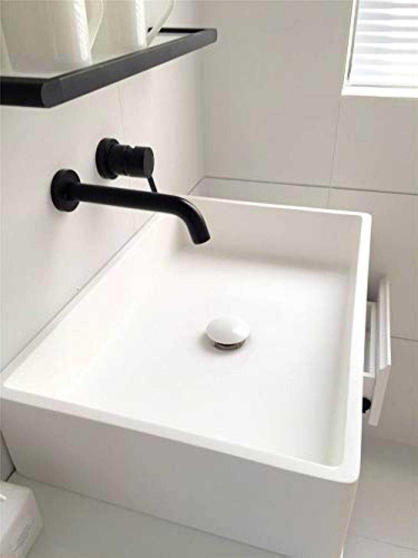 LANTA Home Waschbecken-Mischbatterie Badezimmer-Küche-Becken-Hahn auslaufsicher Speichern Wasser Messing Unterputz Wand kalt und hei versteckte Wnde schwarz