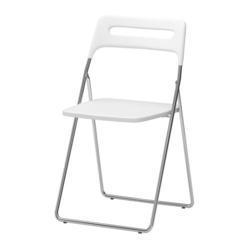 Ikea NISSE - Silla plegable, color blanco brillante, cromado