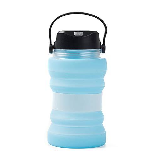 ZUHANGMENG Botella luminosa de carga solar, Hervidor solar, Taza de agua para camping portatil a prueba de fugas plegable, Botella de viaje deportiva para acampar al aire libre, 730 ml