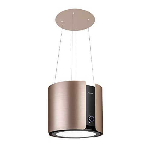 Klarstein Skyfall Smart – Extractor de humo tipo isla, campana aislada, control por aplicación móvil, 45 x 42 cm (ØxB), ventilación y extracción, 3 niveles, 402 m³/h iluminación LED, clase C, dorado
