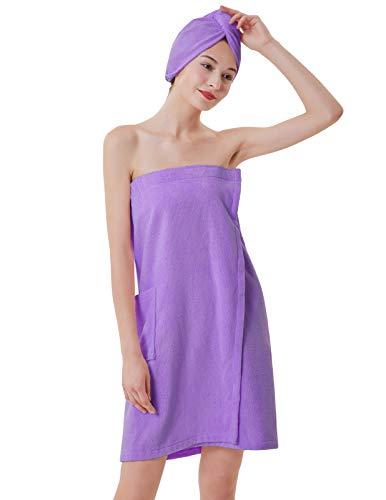 Zexxxy Women's Towel Wrap Bamboo Bath Wraps with Adjustable Closure Spa Shower Robes Purple XXL