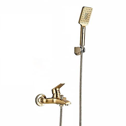Shower Set Oro Cepillado Grifo de Bañera Montaje en Pared Grifería de Bañera Manija única Agua Fría y Caliente Mezclador de Bañera con ABS Ducha de Mano
