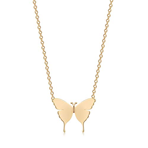 Mevecco Gold Butterfly Pendant Necklaces,18K Gold Plated Dainty Cute Handmade Jewelry Gift for Women …
