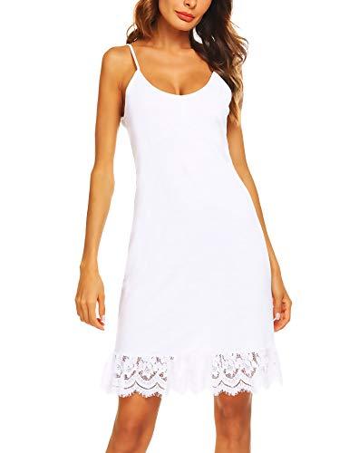 Zeagoo Women's Adjustable Spaghetti Strap Sleeveless Lace Trim Slip Cami Dress Extender White M