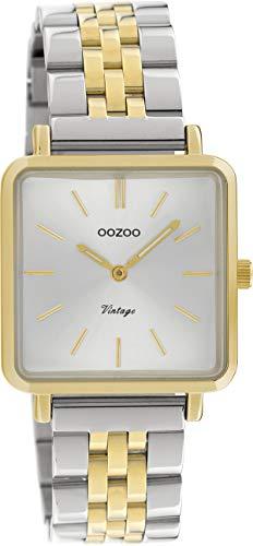 Oozoo Vintage Damenuhr mit Edelstahl Glieder Armband Quadratisch Flach 28 MM C9953