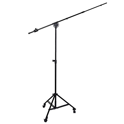 LyxPro SMT-2 Professional Microphone Stand Heavy Duty 90 Studio Overhead Boom Stand with Rolling Casters, 87 Extra Long Telescoping Arm Mount, Foldable Tripod Legs & Adjustable Counterweight