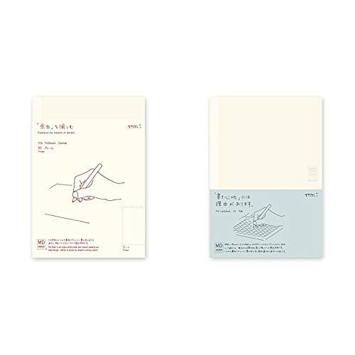 【セット買い】(Designphil)ミドリ ノート MDノート A5 ジャーナル フレーム 15258006 & ミドリ ノート MDノート A5 方眼罫 15003006