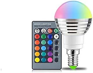 SGJFZD 85-265V 110V 220V E14 RGB LED Light Bulb 16 Color Changeable Magic LED Night Light Lamp Dimmable Stage Light 24key ...