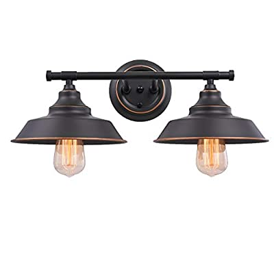 Industrial Wall Light Fixture Farmhouse Rustic Wall Sconce, Vintage Wall Mounted Vanity Light for Bathroom, Bedroom, Living Room, Kitchen, Black Metal Shade (2-Light)