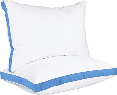 Utopia Bedding Almohadas 45 x 74 cm (2 Unidades) - Fibra Hueca Virgen de Relleno 3D - Transpirable y Fácil Cuidado (Azul)