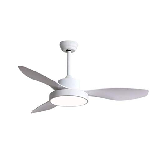 TODOLAMPARA - Ventilador de techo con luz LED 40W modelo HAYATE Blanco, 3 tonalidades de luz con memoria, 3 aspas, 3 velocidades, control remoto, temporizador, tamaño mediano
