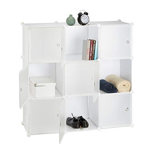 Relaxdays, weiß Steckregal Kunststoff, groß, 9 Fächer, DIY-Regalsystem mit Türen, Würfelregal, HBT 110 x 110 x 37 cm, Standard
