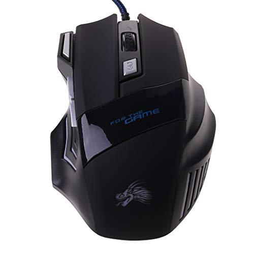Yoking Gaming-Maus, kabelgebunden, mit LED-Licht, USB, 7 Tasten, ergonomische Gaming-Maus, 5500 dpi, für...