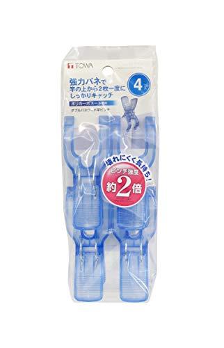東和産業CLRダブルバネワイド竿ピンチ4PWC2-01ブルー幅6x奥行4x高さ9.8cm