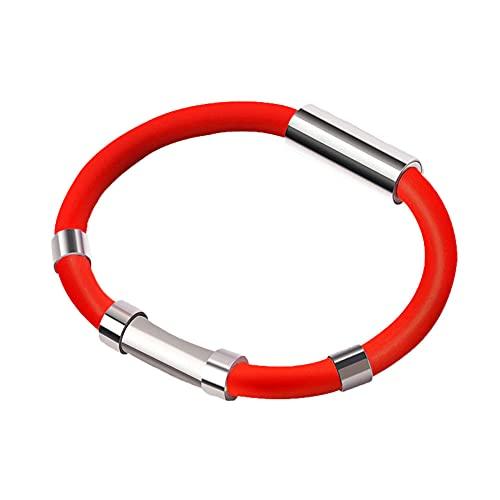 Pulsera antiestática pulsera de iones negativos pulsera de eliminación estática pulsera antiestática inalámbrica conductor adecuado adolescente anciano eliminar la electricidad estática-rojo