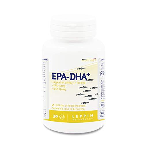 LEPPIN EPA-DHA Forte 1000 mg - 30 capsules | Huile de poisson concentrée en Oméga 3 + Vitamine E | Certifiée SANS MÉTAUX LOURDS | Complément alimentaire naturel