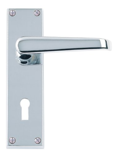 Excel Hardware Victorian Straight Door Handles Lever Lock - Polished Chrome Premium Quality by Doorfittings4u