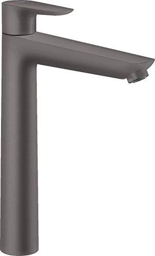 hansgrohe Grifo Talis E (grifo con caño de 240 mm de altura), grifo monomando sin desagüe, cromo cepillado negro