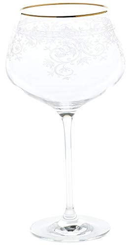 CRISTALICA Weinglas Burgunder Charisma Flora Rotwein Cocktail 775mll klar Panto Goldrand