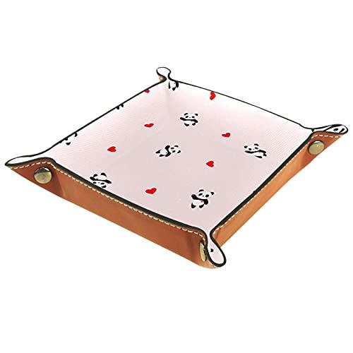 Organizador de canastas de cuero fondo rosa panda para la mesa de estar del escritorio del tocador