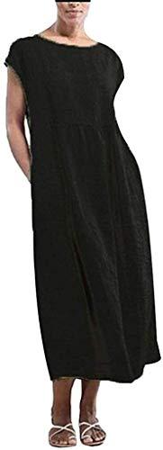 HX fashion Lniana sukienka damska letnia rozmiar sukienki kaftan sukienka wygodne rozmiary lato bez rękawów jednolity kolor torby lniana luźne luźne luźne kaftan Länges letnie sukienki damskie lniane ubrania
