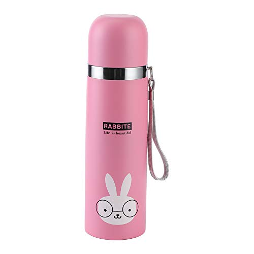 Petyoung 500Ml Niedliche Cartoon Isolierte Wasserbecher Wärmedämmbecher Edelstahl Isolierung Wasserflasche für Kinder (Rosa)