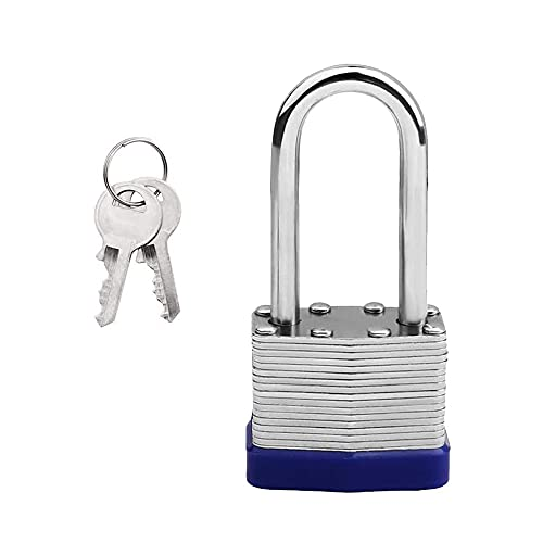 Steel Padlock with Keys, Long Shackle Padlock Heavy Duty Key Padlock...