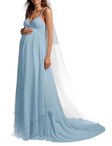 SongSurpriseMall Brautkleid Hochzeitskleid Schwangere Lang Brautkleider Hochzeitskleider Damen Abendkleider Chiffon Sommer Perlen mit Schleppe Blau EU56