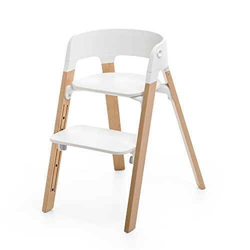 Stokke Steps Chair - Natural Legs & White Seat - 5-in-1 Seat System - Can Transform Into Newborn + Toddler High Chair - Use Throughout Childhood or Up to 187 lbs. - Tool Free, Stylish & Adjustable