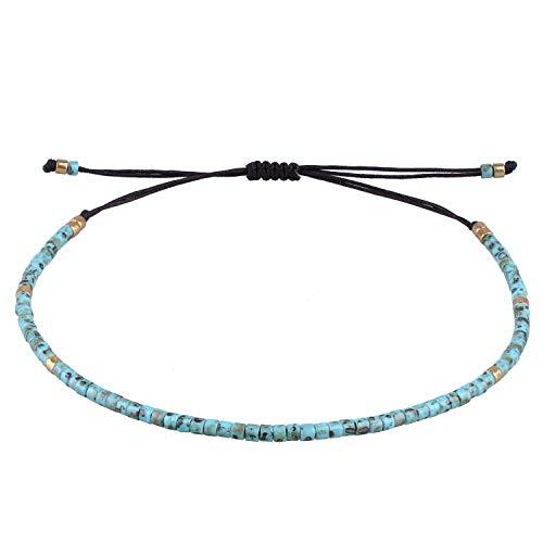 KELITCH - Braccialetto dell'amicizia fatto a mano, unisex, con corda sottile, perline e perline e Corda, colore: Spotted Blue, cod. AZX01804A