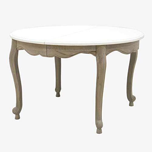 Better & Best 1741392 Mesa comedor redonda extensible tapa blanca y pata grisacea de madera
