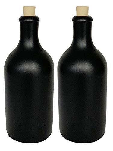 mikken 2 x Ölflasche 500 ml Steingut schwarz mit Korken