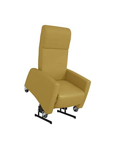 Devita - Pflegesessel LUTRA Lift 2 mit Aufstehhilfe bis 140 kg, Rollen, Schiebegriff, verstellbarer Rückenlehne - Aufstehsessel, Fernsehsessel, Relaxsessel - mit Netzstecker und Akku- camel Hygiene-Leder