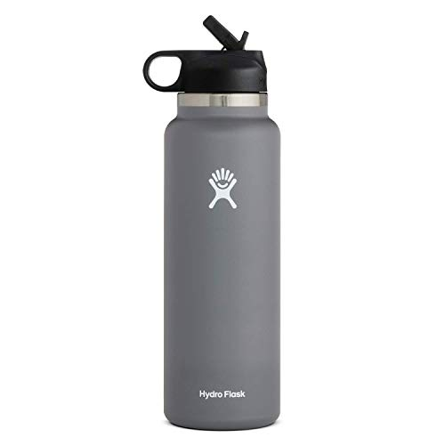 Hydro Flask Water Bottle - Wide Mouth Straw Lid 2.0 - 32 oz, Stone