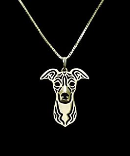 2016 Rushed Chrysocolla Kolye Collares Wholesale Sales Italian Greyhound Pendant and Necklace Hollow Out Dog Animal Lovers Love - (Metal Color: Gold-Color)