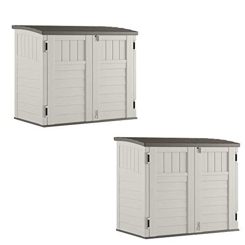 Suncast 34 CU Durable Resin Horizontal Storage Shed w/Reinforced Floor (2 Pack) -  2 x BMS2500