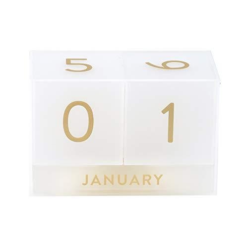 Erin Condren Designer Desk Accessories - Acrylic Perpetual Calendar-Focused Daily Calendar Desk Accessory Featuring 3 Month Blocks and 2 Date Blocks with large Type