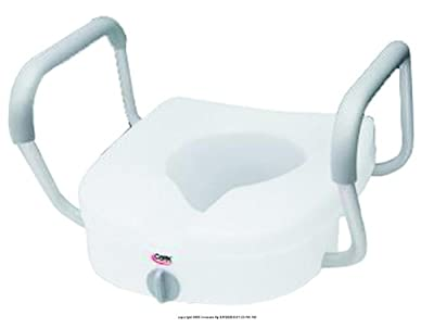 Carex E Z Lock Raised Toilet Seat with Non Adjustable Handles (1 CASE, 2 EACH)