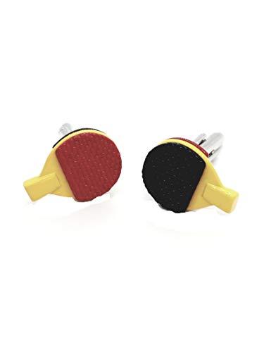 Mancuernillas con Forma de Raqueta Ping Pong Rojo y Negro
