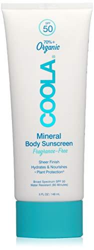 COOLA Organic Mineral Body Sunscreen, SPF 50 | Vegan, Gluten-Free, Non-Greasy, Water-Resistant, Lightweight | Fragrance-Free | 5.0 OZ