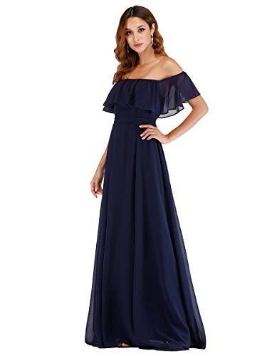 Ever-Pretty Dalla Spalla Vestito da Sera Linea ad A Chiffon con Aberturas Lungo Blu Navy 38