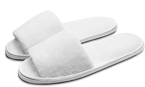 ghjk Zapatillas Blancas Unisex, de Punta Abierta Plegable para Todas Las Estaciones, adecuadas para el SPA Party and Travel, Nondisposable 10 Pares Disponibles en Dos tamaños