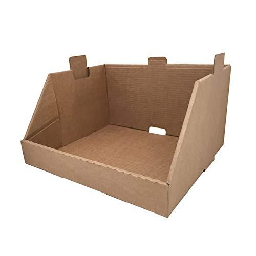 Cajeando   Pack de 20 Cajas de Cartón Expositor Apilable   Tamaño 43,7 x 38,5 x 24,5 cm   Canal Simple y Color Marrón   Almacenaje y Embalaje   Estantería Cocina o Baño   Fabricadas en España