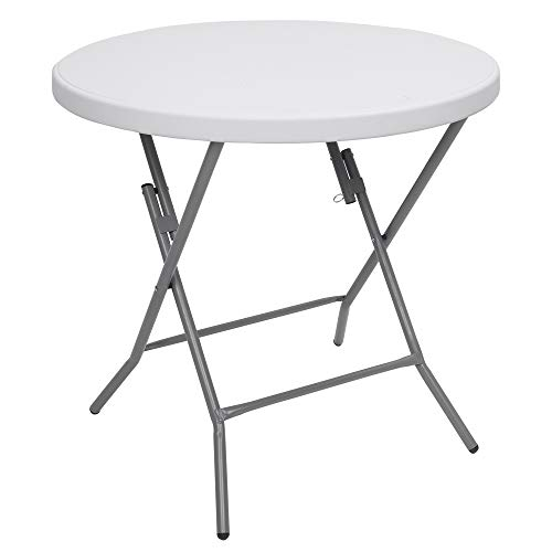 "VINGLI 32"" Round Folding Commercial Banquet Table, Portable Plastic Coffee Card Dining Table for Kitchen or Outdoor Party Wedding Event,White Granite"