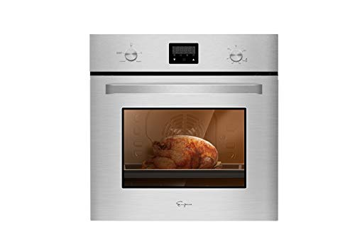 Empava 24 in. 2.3 cu. Ft. Single Gas Wall Oven Bake Broil Rotisserie Functions with Mechanical Controls-Digital Timer-Convection Fan in Stainless Steel, Silver
